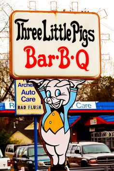Three Little Pigs Bar- B-Q . Memphis Tennessee - I live a few blocks from this place, great bbq! Also they have fried catfish on Fri nites and a great cheeseburger! State Of Tennessee, Memphis Tennessee, Tennessee Vacation, Memphis Restaurants, Memphis City, Bar B Q, Old Signs, Down South, Museum