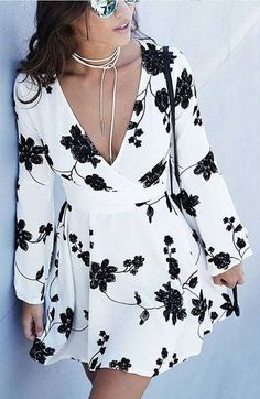 #beginningboutique #label #outfits |  Black and White Floral Little Dress