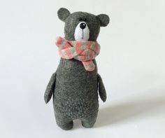 Felt Grey Bear In A Striped Scarf, Felted Miniature Animals, Eco Friendly Felt Animals, Teddy Bear Toy, Stuffed Miniature Bear, Woodland Plushie Grey felt bear, hand stitched, wearing striped pink&grey bamboo scarf (removable) looking for a loving and caring home :) height: 14cm (5.5)