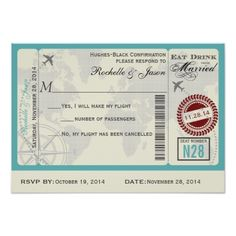 Hawaii Wedding Invitations Airline Ticket Wedding RSVP Card