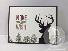 Stampin' Up! Rembering Christmas (for the deer) and Lovely as a Tree stamp sets. Masculine card.