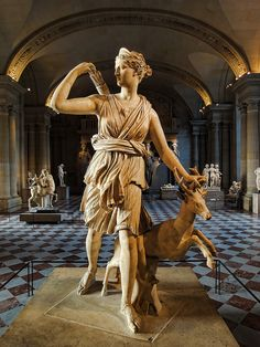 The  Diana of Versailles, statue of the Greek goddess Artemis (Latin: Diana), with a deer, Musée du Louvre, Paris. It is a Roman copy (1st or 2nd century AD) of a lost Greek bronze original attributed to Leochares, c. 325 BC.