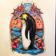 New traditional penguin tattoo sketch by - Ranz