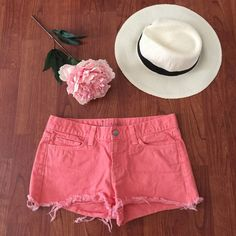 J brand shorts J brand denim shorts. Salmon colored. Size 27. Worn once. Perfect for spring and summer. In excellent condition. Frayed edges as shown in pic. J Brand Shorts Jean Shorts