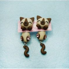 Siamese Cat Clinging Ears, fimo, handmade,hecho a mano,polymer clay,cuelga orejas,earrings,gato,pendientes,