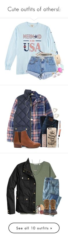 """""""Cute outfits of others(:"""" by arieannahicks ❤ liked on Polyvore featuring Levi's, Essie, S'well, Kendra Scott, IaM by Ileana Makri, Giorgio Armani, Converse, L.L.Bean, J.Crew and DL1961 Premium Denim"""
