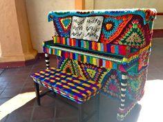 yarn bombed piano, Santa Barbara, CA: