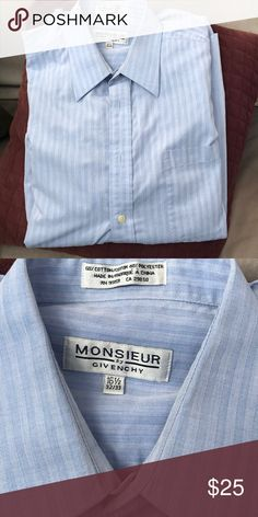 Givenchy men's shirt Monsieur by Givenchy long sleeve button down shirt in a light blue stripe Givenchy Shirts