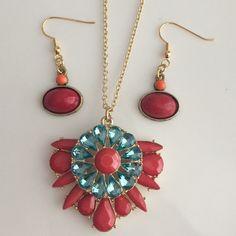 Red and blue jewelry set  IzzyAndAva etsy shop $28
