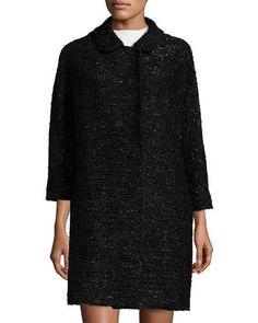 TDYTV Milly Alexis 3/4-Sleeve Lurex® Tweed Coat, Black