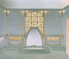 Bathroom interior designed by Henri Sauvage & Sarazin, from 'Documents d'Art Moderne', Prints by Anonymous Henri Sauvage, Documents D'art, Fine Art Drawing, Bathroom Art, Bathrooms, School Of Visual Arts, Art Nouveau Architecture, Famous Art, Art Moderne
