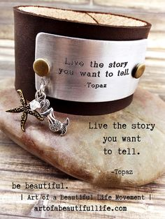 Boho Leather Cuff Bracelet  Inspirational Quote  by SimplyTopaz