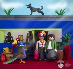 Frida y Diego en el patio de la casa azul. Playmobil Darlio custom Mexico Historia