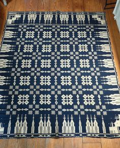 Unusual Antique 19th C Indigo Jacquard Coverlet with Churches Signed | eBay