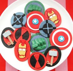 The AVENGERS Edible SUPERHERO Cupcake Toppers -  Super Hero cupcakes -  Fondant cupcake toppers - Comic Book, MOVIE Cupcakes (12 pieces)