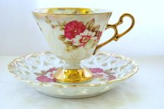 Footed Tea Cup and Reticulated Saucer in Porcelain Lusterware Tea set