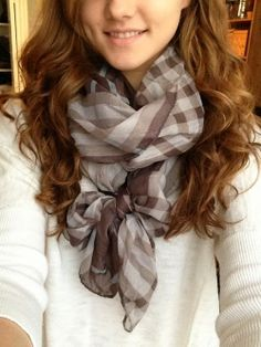 Fashion Ideas: White Sweater With Dark Brown Scarf