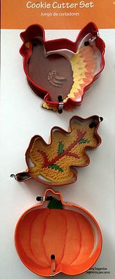 WILTON COOKIE CUTTER LOT ~ Thanksgiving Fall Autumn PUMPKIN TURKEY OAK LEAF NEW