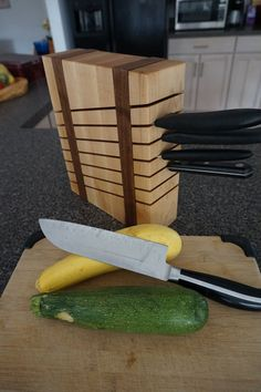 Protect your knives with this handcrafted maple and walnut knife block. Its unique design compliments almost any decor. Its trim footprint wont