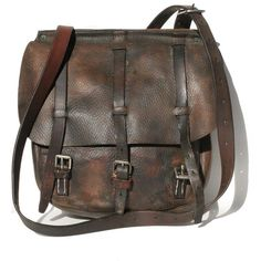 Vintage Brown Leather Strap bag ($295) ❤ liked on Polyvore featuring bags, handbags, shoulder bags, accessories, purses, bolsas, leather shoulder bag, vintage leather shoulder bag, man bag and leather man bags