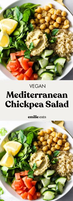 Pack something green for lunch – like this Mediterranean Chickpea Salad! It's easy to prepare in 10 minutes to pack in a lunch box. Best Vegetarian Recipes, Whole Food Recipes, Healthy Recipes, Vegetarian Lunch, Cold Lunches, Vegan Lunches, Plant Based Whole Foods, Plant Based Eating, Mediterranean Chickpea Salad