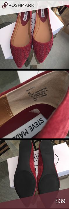 Steve Madden leather flats size 9 New, leather, burgundy color. Steve Madden Shoes Flats & Loafers