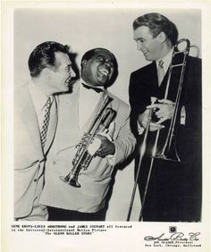 "James Stewart with Louis Armstrong & Gene Krupa in ""The Glenn Miller Story."" 1953"