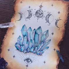 A daily dose of daydreaming heals the heart, soothes the soul, & strengthens the imagination. Kunst Tattoos, Body Art Tattoos, Crystal Drawing, Illustration Inspiration, Crystal Tattoo, Arte Sketchbook, Book Of Shadows, Future Tattoos, Skin Art