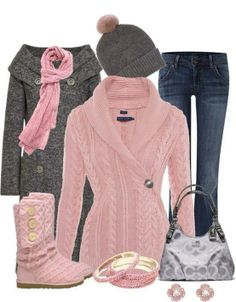 My Style •~• pink, grey, & denim winter outfit