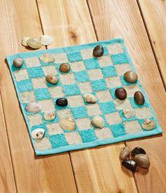 Fun Summer Craft: Cloth and Seashell Checkerboard