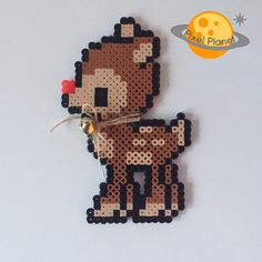 Rudolph The Red Nosed Reindeer Perler Beads Sprite | Christmas Ornament | by PixelPlanetShop on Etsy