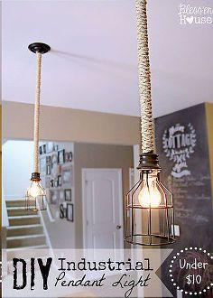 diy industrial pendant light, diy, lighting, repurposing upcycling