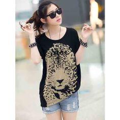 Women Black Cotton Blends T-shirt Price:US$ 5.50