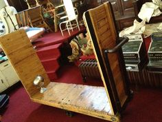 Vintage Industrial Luggage Cart   antique trolley factory mill coffee table rack