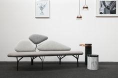 Borghese sofa designed by Noé Duchaufour Lawrence, Salute tables by Sébastien Herkner for La Chance