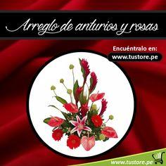 Arreglo de anturios y rosas