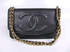 dd58556dba30 Chanel Black Caviar Timeless Classic Wallet on Chain WOC