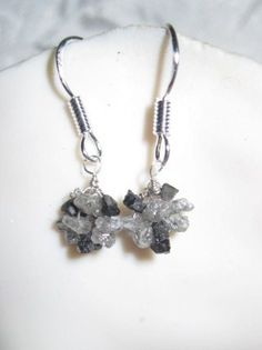 Black and Gray Diamond Cluster Earrings by Created2Inspire on Etsy, $75.00