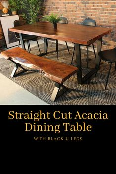 Made out of solid acacia wood, this straight edge table looks equally beautiful in the dining room or in the office. The hardwood tabletop with its stunningly beautiful natural wood grain pairs elegantly with the industrial black metal legs. Natural Wood Table, Dining Room, Dining Table, Wood Tables, Pinterest Projects, Stunningly Beautiful, Acacia Wood, Straight Cut, Wood Grain