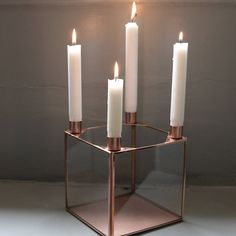 A stunning copper candle holder.These gorgeous copper candle holder has a great simplicity to it, being in a modern, contemporary design. .It looks equally good placed on a scubbed kitchen table or an elegant mantlepiece. They have a crisp Danish design and add a little bit of interest to any funky home.