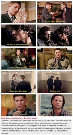 """""""Best Winchester Brotherly Bonding Scenes [gifset] - 7x16 Out With The Old, 1x04 Phantom Traveler, 4x06 Yellow Fever, 9x05 Dog Dean Afternoon."""" We need more of these moments…"""