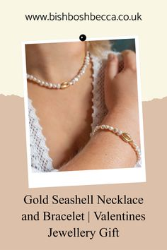 Get this gold plated seashell and white pearl necklace and bracelet set is a perfect subtle valentines gift The ancient Romans, Hindus,and Native Americans, all considered seashells symbols of love. Think Venus, Roman Goddess of love and fertility, who is often depicted standing in a scallop shell, where she was created from sea foam. #jewellery #set #pearls #modern #seashell #valentines #white #necklace #bracelet White Pearl Necklace, Pearl Choker, Pearl Bracelet, Bracelet Set, Valentine Hearts, Valentine Gifts, Jewelry Gifts, Jewellery, Seashell Necklace