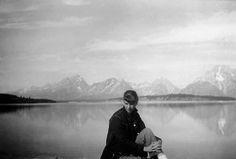 Sylvia Plath at Jackson Lake, Grand Teton National Park, Wyoming, photograph by Ted Hughes, July 1959.