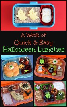 A Week of Easy Halloween Lunch Ideas - - A week's worth of fun & easy Halloween themed bento lunch ideas for kids! With cute Halloween bento accessories and packed in Yumbox & Monbento lunch boxes. Halloween Snacks For Kids, Halloween Treats For Kids, Easy Halloween, Spooky Treats, Halloween Foods, Halloween Activities, Halloween Stuff, Kids Lunch For School, Healthy Lunches For Kids