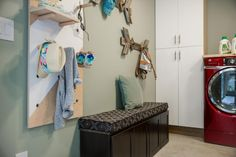 The bench in the mudroom features additional storage.