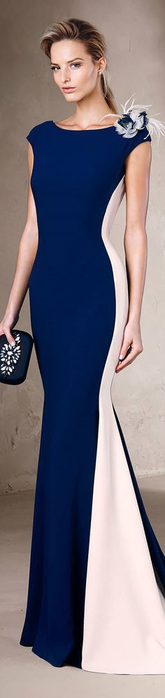 Pronovias 2017 blue maxi dress gown  women fashion outfit clothing style apparel @roressclothes closet ideas