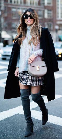 #winter #fashion / knit + plaid skirt