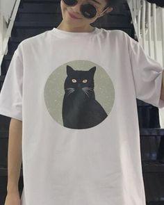Black cat t shirt for teenage girls cartoon animal short sleeve tee