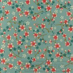 Cherry Blossom in hellblau | Tapeten nach Muster Blumentapeten - - Tapetenmarkt.de
