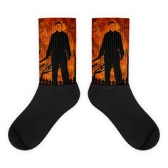 These socks are extra comfortable thanks to their cushioned bottom. The foot is black with artwork printed along the leg with crisp, bold colors that won't fade. Awesome Socks, Cool Socks, Halloween Silhouettes, Halloween Movies, Michael Myers, Us Man, Artwork Prints, Bold Colors, Legs